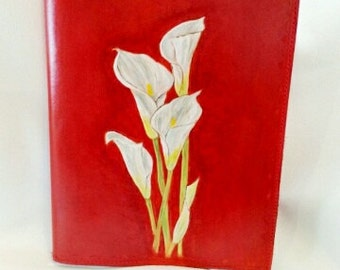 Reader, book cover, protected - agenda, all leather, handmade, personalized with the image of your choice