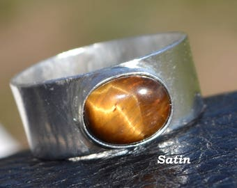 Sterling Silver Men's Ring with Tiger's Eye Cabochon