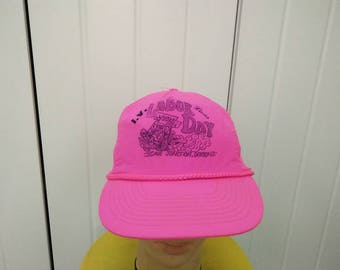 Rare Vintage LABOR DAY Racing Neon Pink Cap Hat Free size fit all