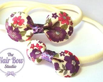 Floral headbands, Big sister/Little sister set, nylon headbands, gift set, rounded hair bows, flowers, felt, purple, green, cream, pink, uk