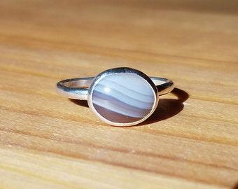 Botswana Agate Stacking Silver Ring