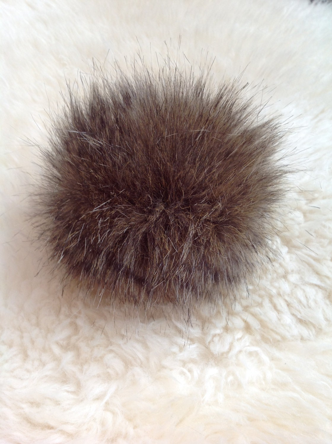 Brown black faux fur pom pom fur pom pom crochet for Furry craft