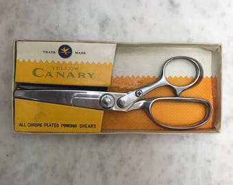 Vintage Chrome Plated Pinking Shears / Canary Yellow Trade Mark / Made in Japan / Sewing Notions