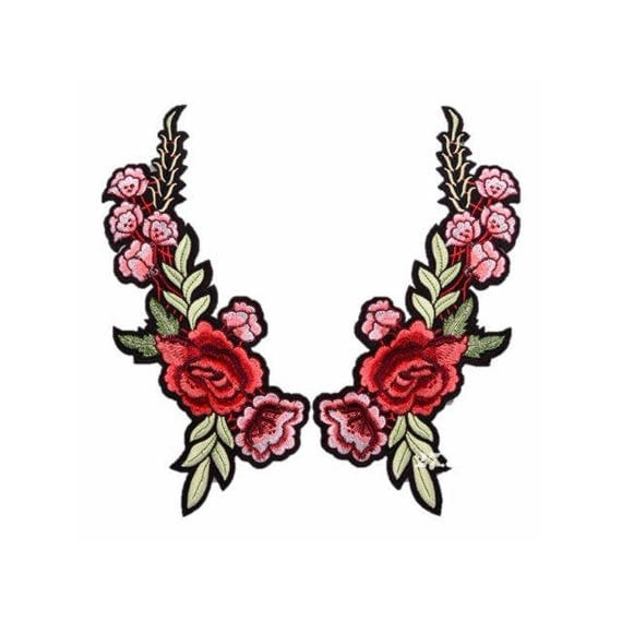 Floral Embroidery Patches Embroidered Roses DIY Sew on Iron On Patch