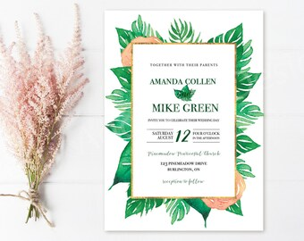 Tropical Wedding Invitations With Border, Tropical Wedding, Destination Wedding Invitation, Printable Wedding Invitation, Tropical Leaves