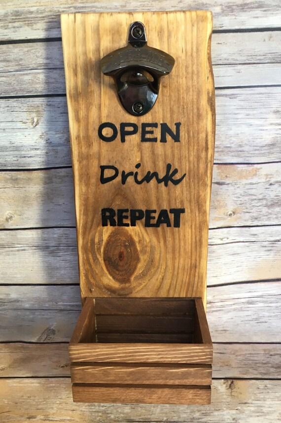 wood wall mounted bottle opener beer bottle opener bottle cap. Black Bedroom Furniture Sets. Home Design Ideas