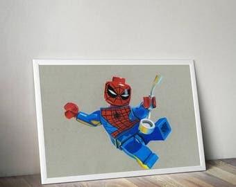 Lego spiderman (A4 print)