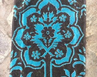 Fresco Towels - Venetian Brocade Cocoa/Turq - Small Bath Mat