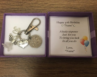 30th birthday lucky sixpence charm Personalised keyring keepsake with gift box choice of charms
