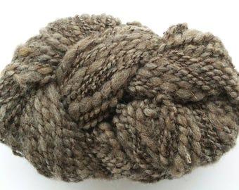 Brown wool knitting yarn, bulky handspun yarn, weaving yarn, knitting yarn, crochet yarn, art yarn, handspun yarn, natural undyed wool