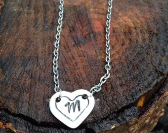 Hand stamped personalized necklace with small heart charm