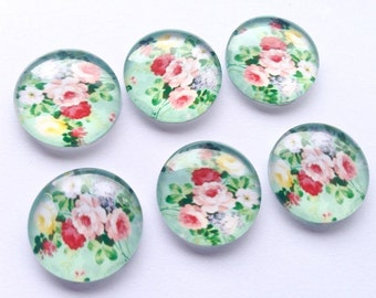 Pretty Mint Green Glass Magnets - Red Roses - 6 Piece 20mm Magnet Gift Set - Fridge Magnets - Home Decor - Mother's Day - FREE SHIPPING AUS