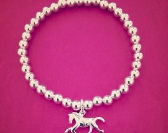 Sterling Silver Horse Charm Bracelet