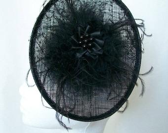 Black Gothic Hat - Upback Saucer Fluff Feather Veil & Pearl Goth Wedding Vintage Fascinator Headpiece Hatinator  -Made to Order