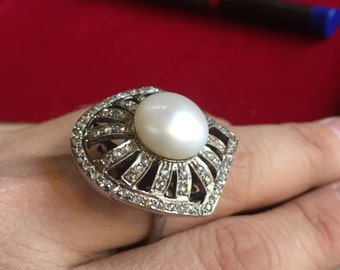 Pearl Victorian Ring, Pearl and Diamond Ring, Designer Ring, Victorian Ring, Silver Ring,Pearl Ring,Giftsforher,Handmade Jewellery,