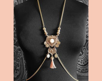 Peach & Gold Necklace Belly Chain // Necklace Body Chain