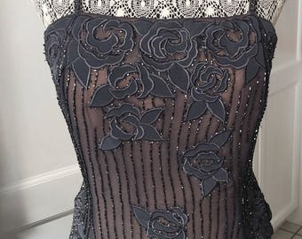 Sz 14 Vtg CHARCOAL GREY GOWN/Mother of the Bride/Maid of Honour/Beaded Silk and Cut Out Gown