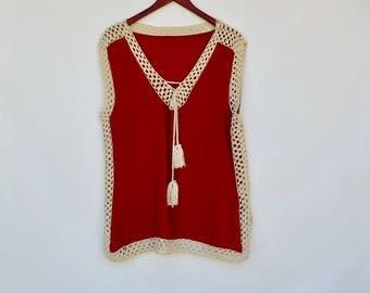 crochet detail red tunic top / medium