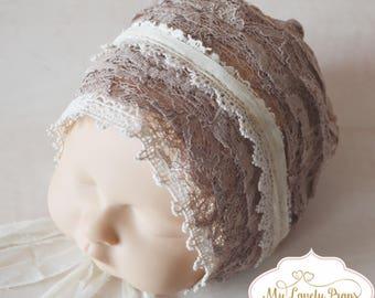 """SALE Newborn """"Christie"""" bonnet, newborn bonnet, newborn props , newborn prop, vintage props, newborn hat, photography props"""