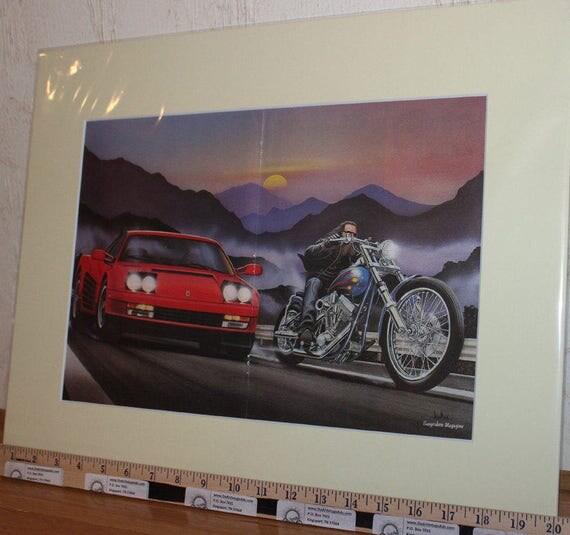 David Mann ''Mountain Skirmish'' 16'' x 20'' Matted Motorcycle Biker Art #8712ezrxmc