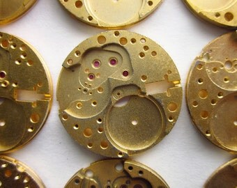 10 Vintage Watch Parts, Gold-Plated Brass, 24mm Round, Near Mint Condition, 1940s Elgin Watch Co. Dead Stock