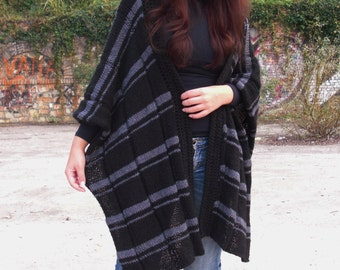 Poncho Hand knit poncho Spring poncho Knit cape Blanket poncho Womens poncho Striped poncho Hand knit cape Gift for her