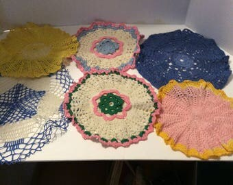 Six doilies, doily, crochet, crocheted doily
