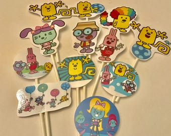 Wow Wow Wubbzy cupcake toppers. (12) Wubbzy cake toppers. Birthday party supplies.