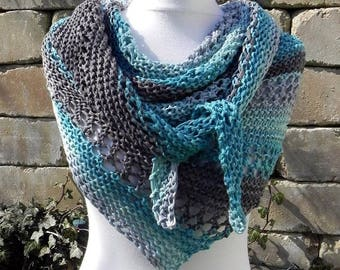 KNITTED shawl scarf cotton cotton turquoise petrol gray