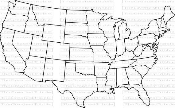 US Map United States Map State Outlines Transparent - Black and white us map with states