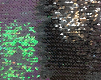 "Mermaid reversible sequin iridescent shiny/shiny  silver on one way stretch poly spandex fabric 52""/54"" sold by the yard"