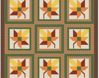 "Cross Stitch Pattern - Quilt Block - Maple Leaf - ""Autumn Leaves"""