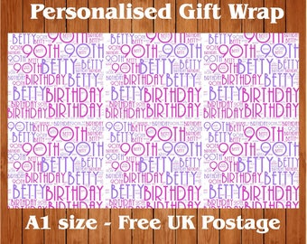 Personalised Wrapping Paper - Any name, Any message, Any occasion.