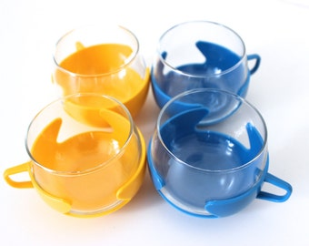 Blue and yellow vintage tea cups, Cup, cups, glasses, punch, Germany 70 years