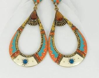 Enamel Earrings Large Oval Dangle With Post