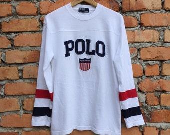 Vintage Rare!! POLO SPORT K-Swiss big logo spellout long sleve t-shirt