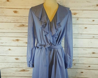 70's Cerulean blue dress, Large