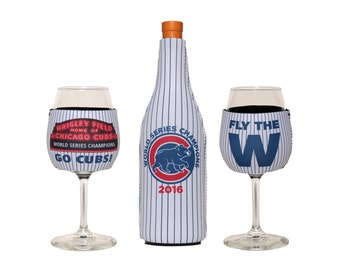 Chicago Cubs Neoprene Slip On Wine Bottle and Wine Glass Insulator Gift Set.  Includes 1 Wine Bottle Cooler and 2 Wine Glass Coolers