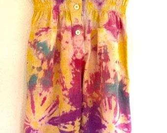 60's Hippie Tie Dye Sleeveless Cotton Jumpsuit.  Size L fits 10