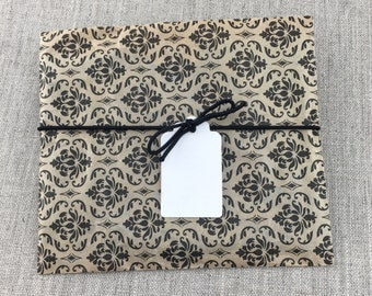 DIY Kit, Set of 20 Black Damask Print Favor Bags 6 x 9 with Tags, Stretch Loops, DIY Favor Kit, Kraft Paper Favor bags, White Rectangle Tags