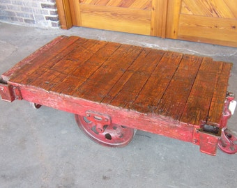 Red Color Wash Restored Vintage Lineberry furniture factory cart coffee table