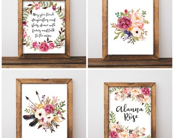 Floral Nursery Print Set - Floral Nursery Decor - May You Touch Dragonflies - Custom Floral Name Print - Digital Download 8x10 - Set of 4