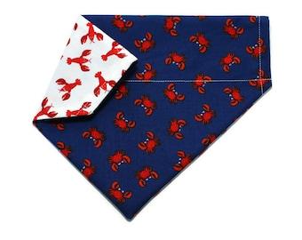 Dog Bandana, Crab & Lobster Dog Bandana, Dog Collar Bandana, Reversible Dog Bandana, Cat Bandana, No Tie Bandana, Dog Gift, Cat Gift