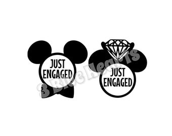 Just Engaged Mickey and Minnie Heads svg dxf pdf studio png jpg