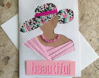 Handmade Lady with hat card