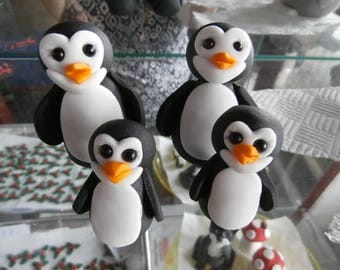 4 cute penguins, wedding, cake toppers, cake decoration, birthday,edible, fondant, sugar paste, animals