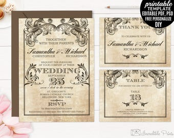 Printable Vintage Victorian Wedding Invitation Set Template. Ornaments Old School DIY PDF PSD Editable Digital Download