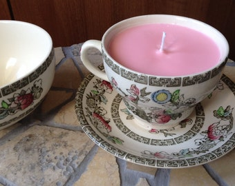 Indian Tree Scented Teacup Candle with Saucer
