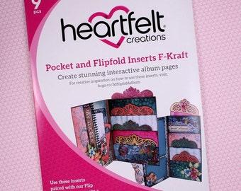 Heartfelt Creations Flip Fold Pockets and Inserts Set F in Kraft - Kraft Mini Album Pockets - Kraft Flip Fold Pockets & Inserts Set F