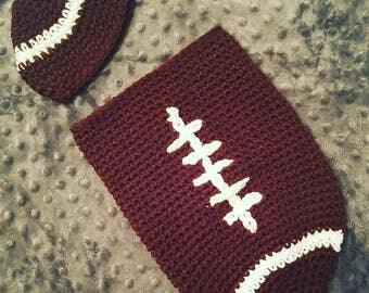 Crochet Football Cacoon/Photoshoot/Newborn Crochet football/Crochet Football